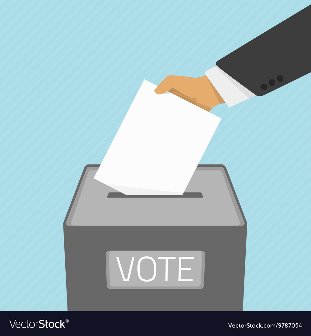 Voting paper in the ballot box vector