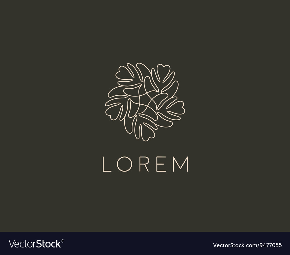 Line leaf tree flower logo design universal vector