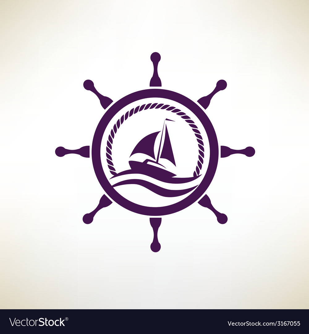 Yacht symbol regatta and travel concept vector