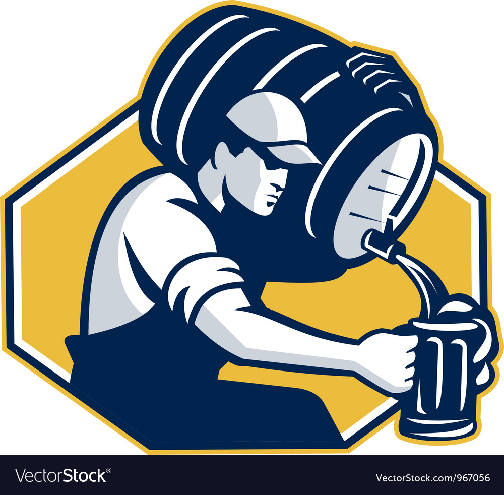 Bartender pouring keg barrel beer retro vector