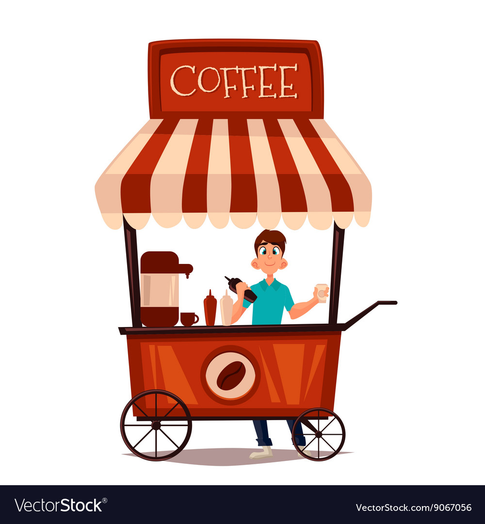 Sale of coffee outdoors vector