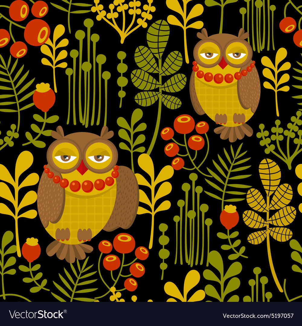 Seamless pattern with fashionable retro owls vector