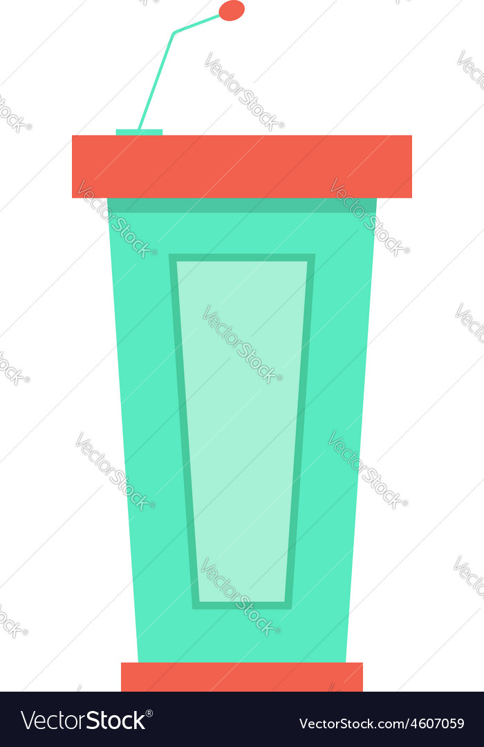 Green trapezoidal tribune icon with microphone vector