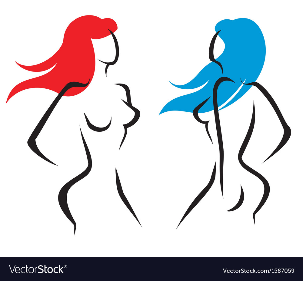 Sexy woman set of silhouettes vector