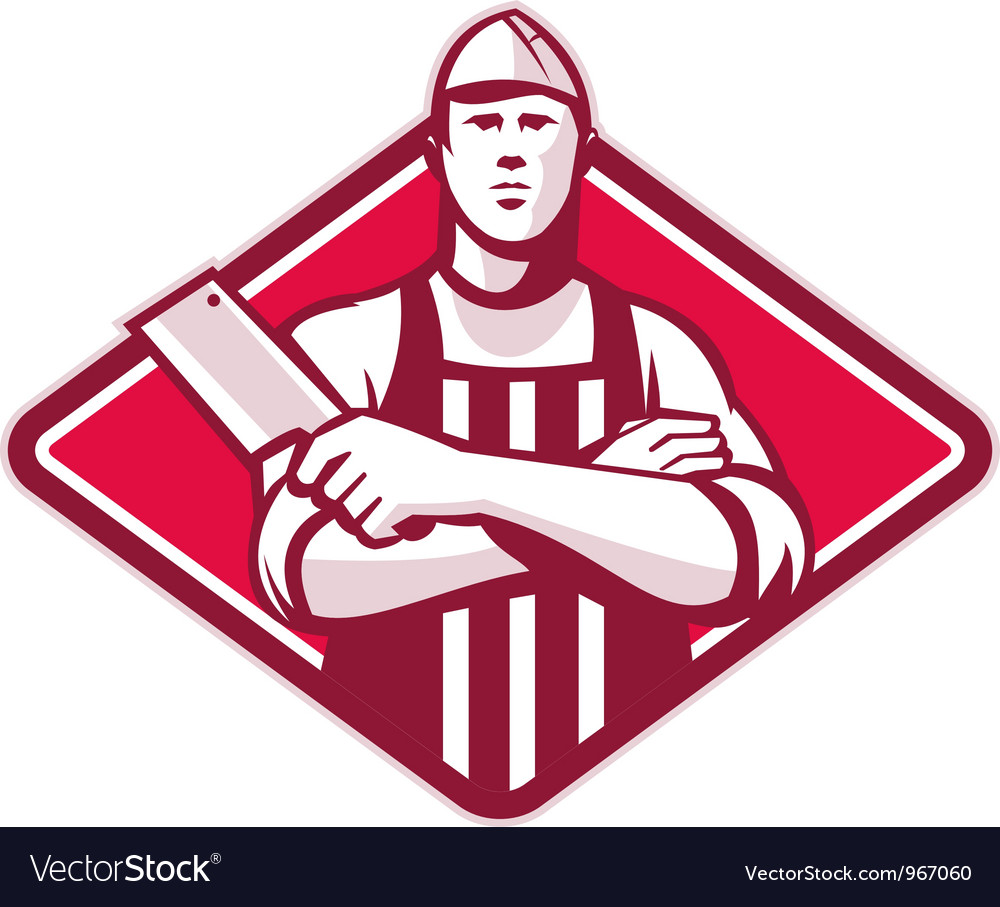 Butcher cutter worker meat cleaver knife retro vector