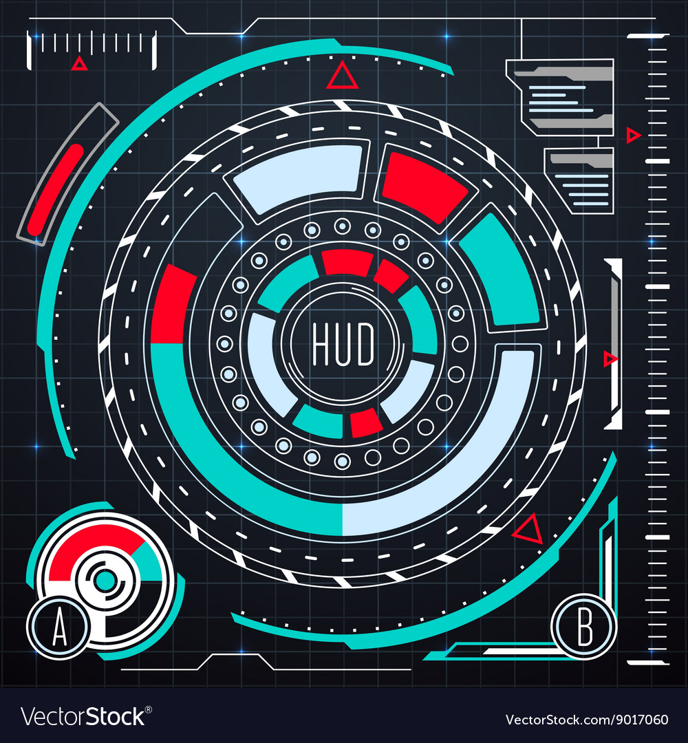 Futuristic user interface elements set hud vector
