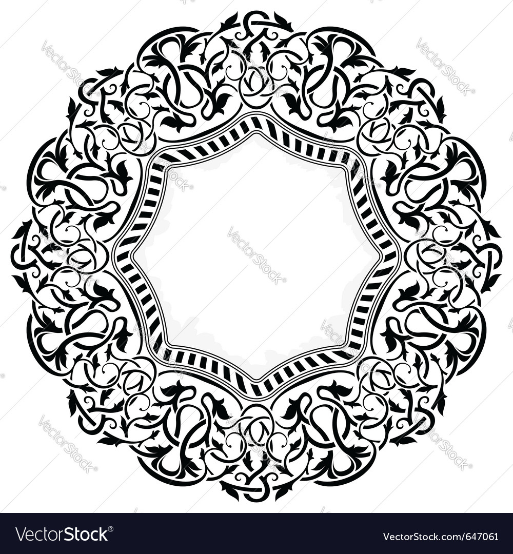 Black circle frame with ornamental border vector