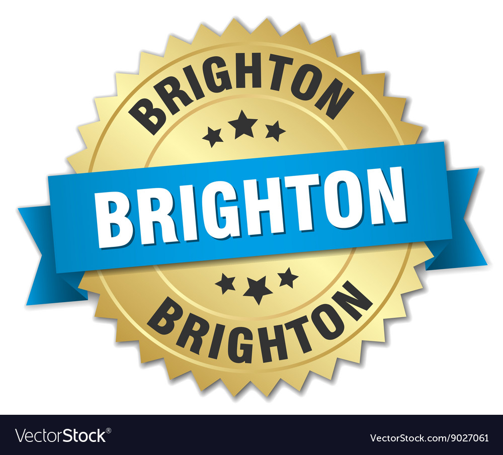 Brighton round golden badge with blue ribbon vector