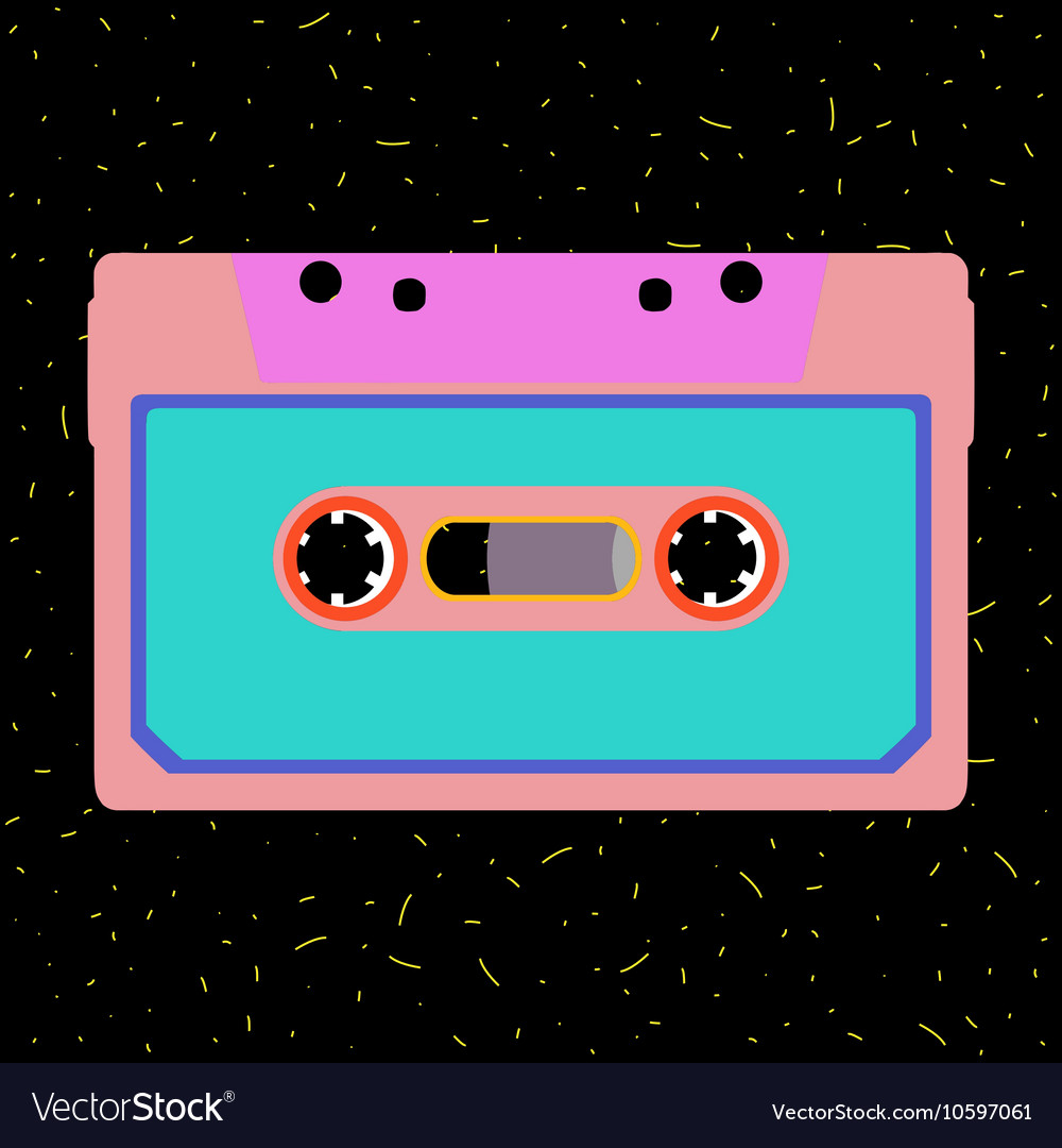 Retro cassette in flat style vector