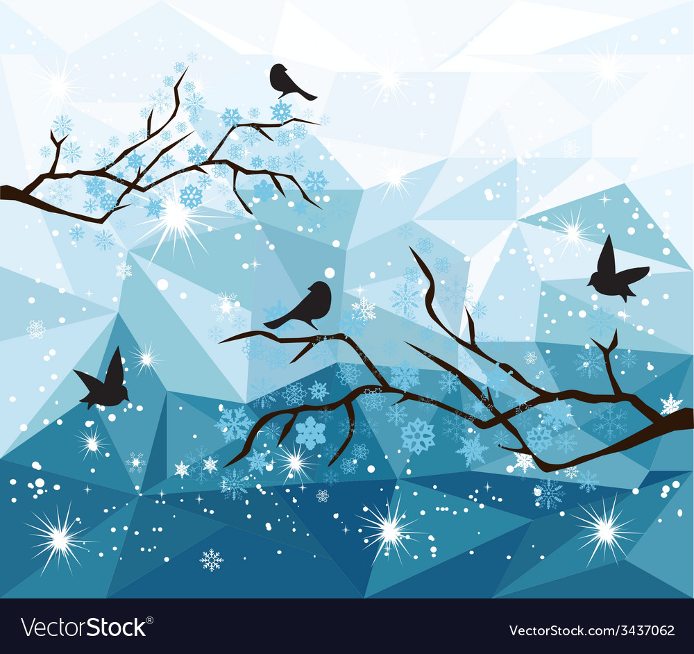 Diamond snow bird vector