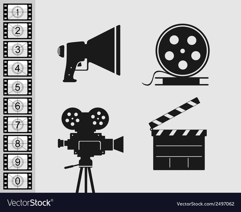 Elements set for filmmaking vector