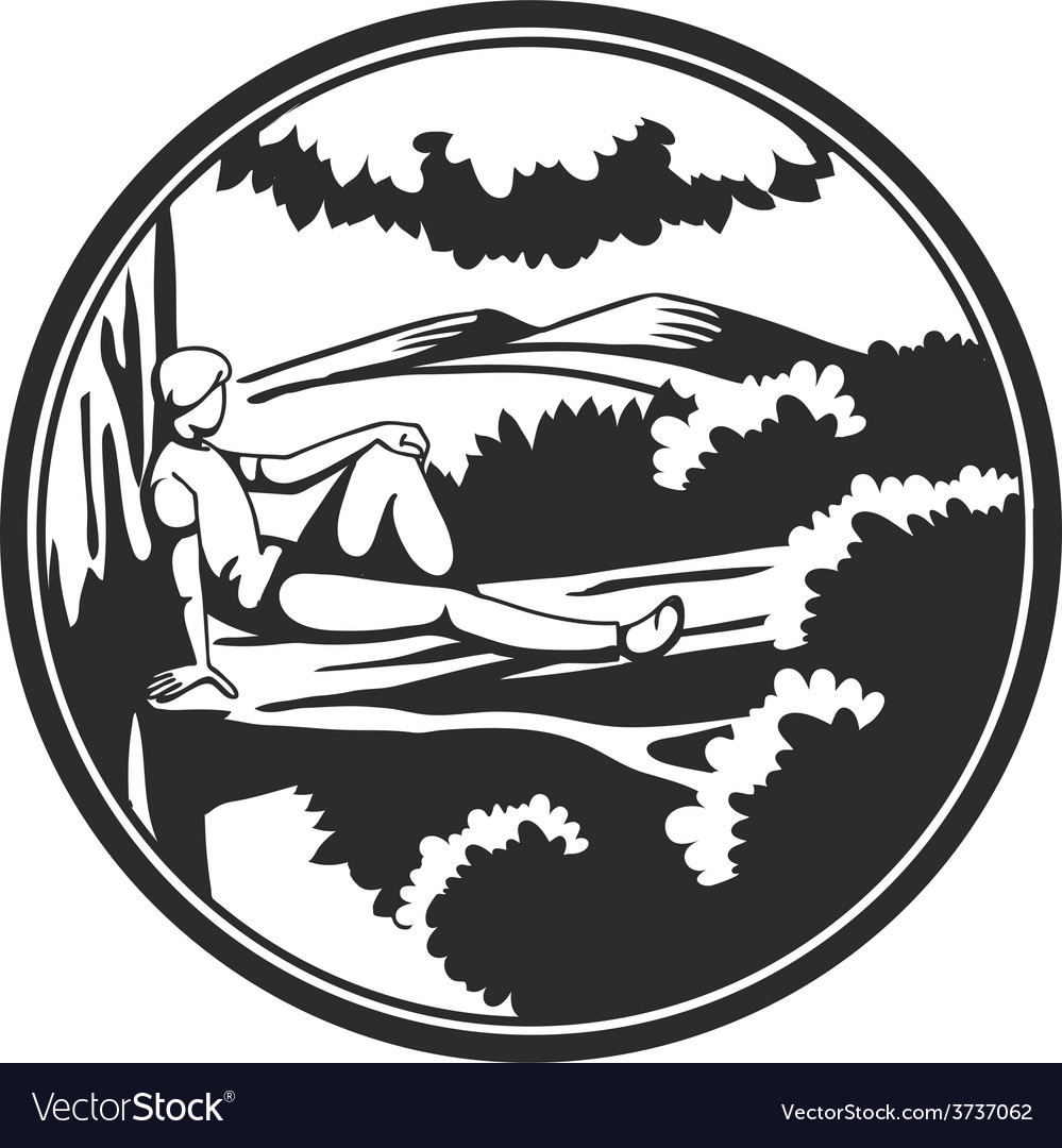 Man on wood vector