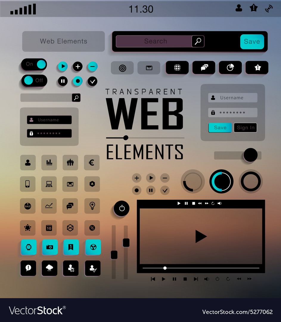 Web elements buttons and labels site vector