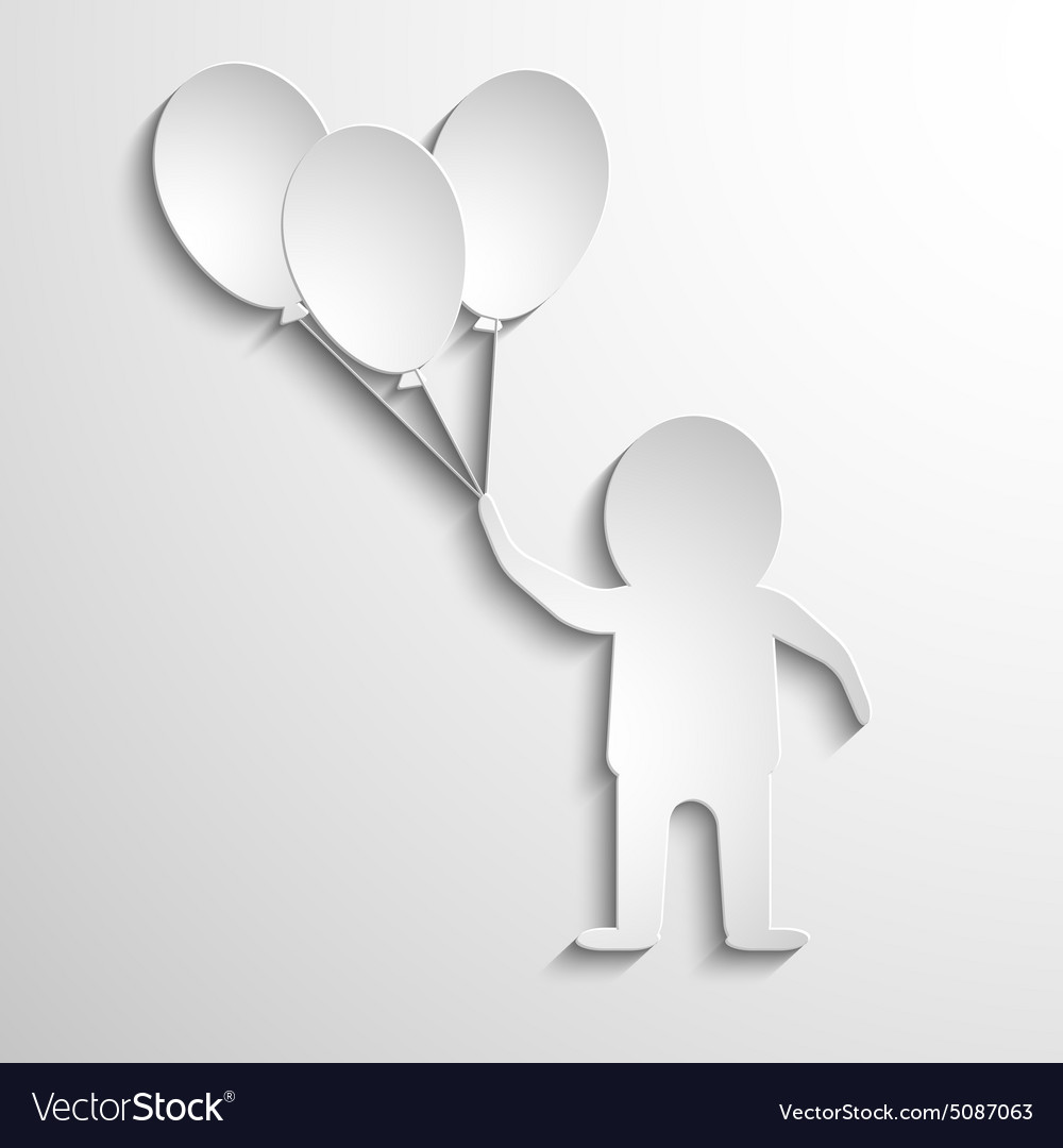 Man with balloons in hands white paper vector