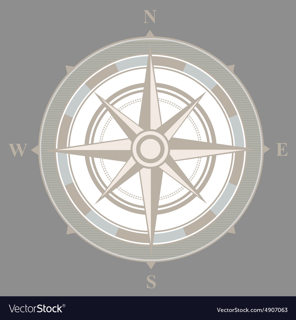 Vintage nautical or marine compass on gray vector