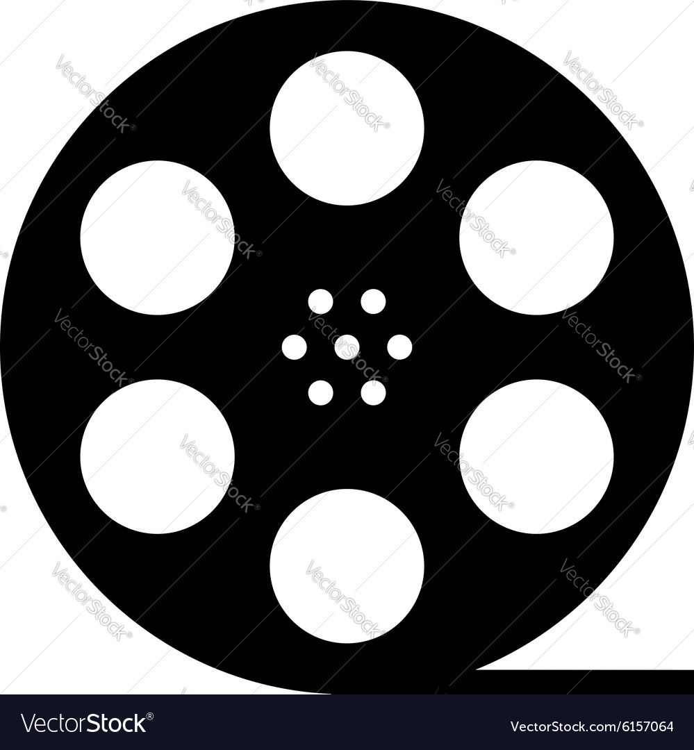 Black film reel silhouette vector