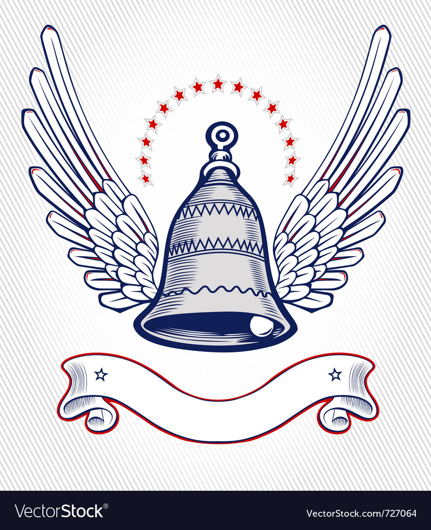 Christmas bell wing emblem vector