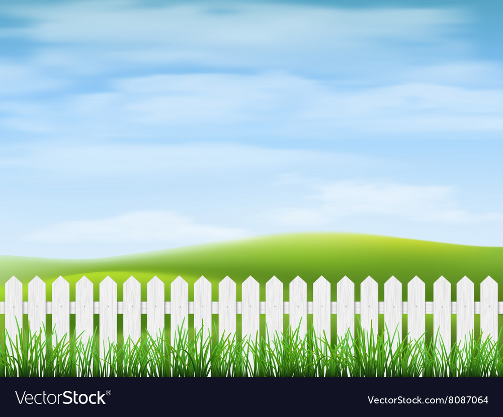 Rural landscape with grass and fence vector