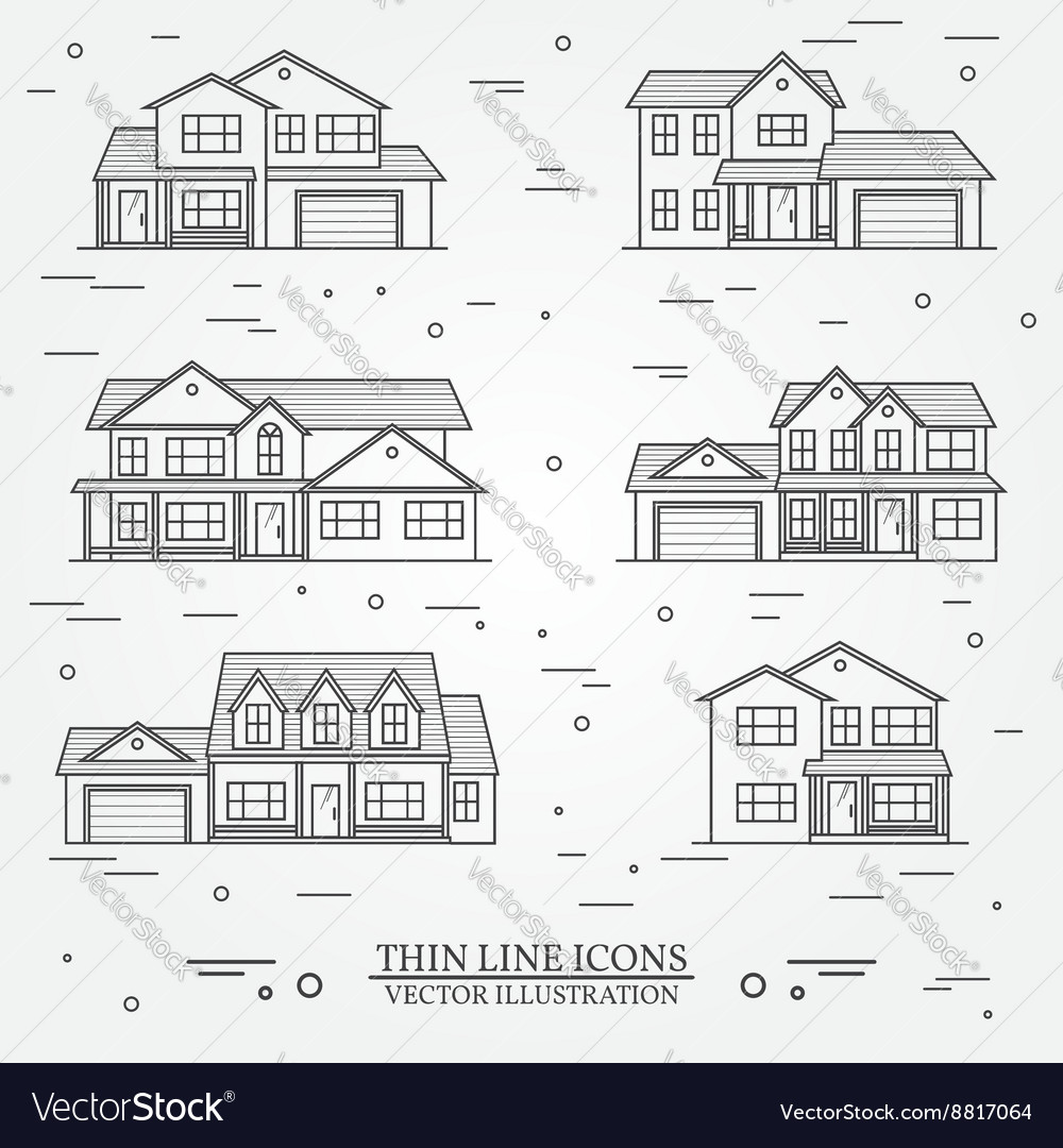 Set of thin line icon suburban american houses for vector