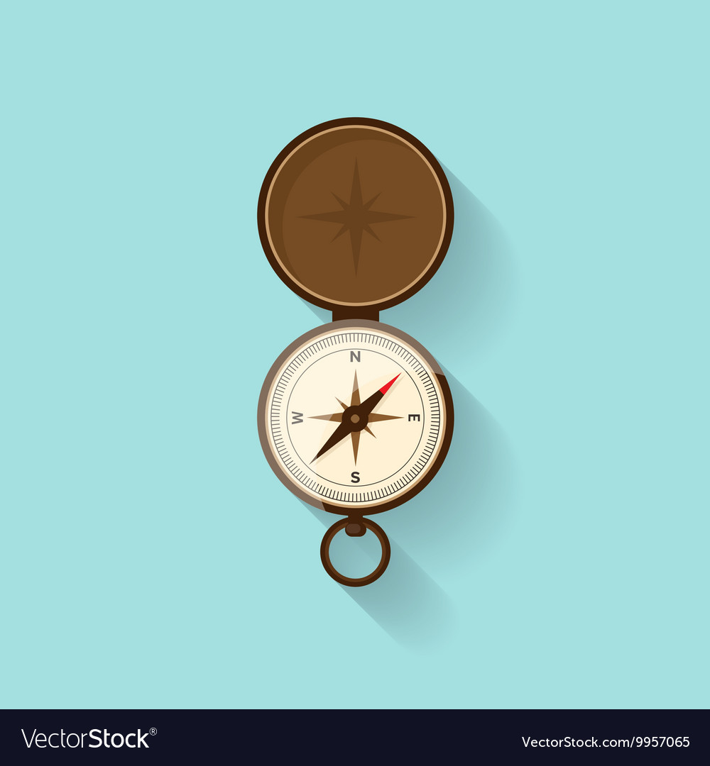 Compass in a flat style travelhiking camping or vector