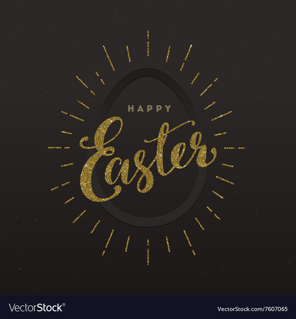 Easter greeting card  glitter gold type design vector