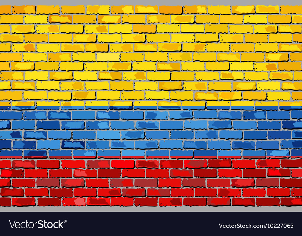 Flag of colombia on a brick wall vector