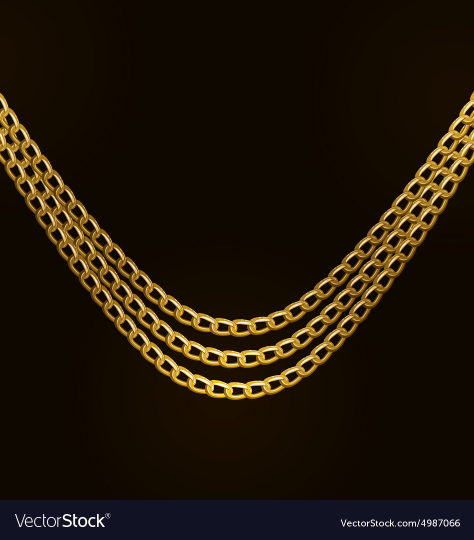 Beautiful golden chains isolated on black vector