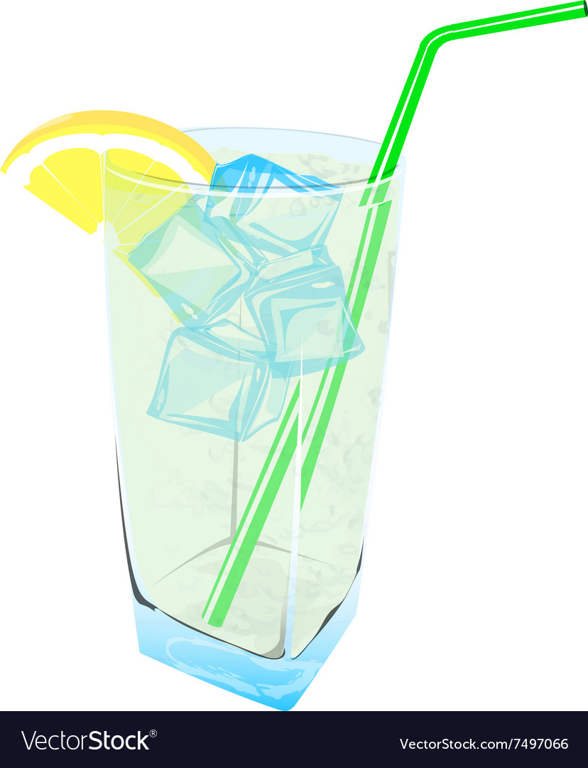Fresh lemonade drink ice fresh vector