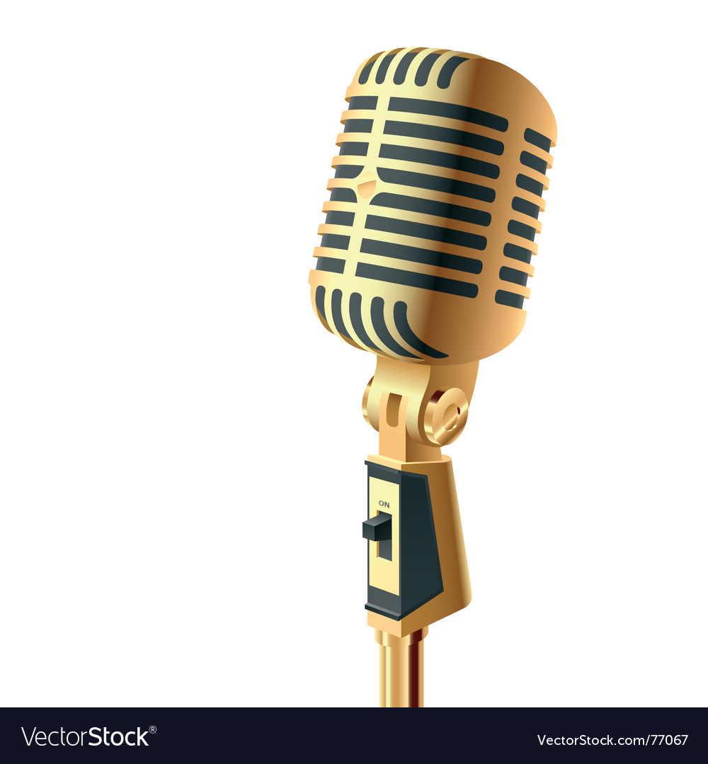 Gold microphone vector