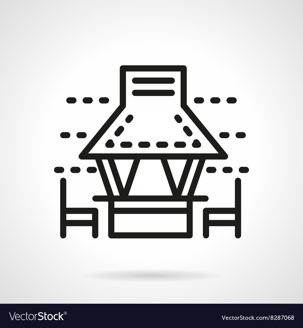 Garden gazebo with chairs black line icon vector