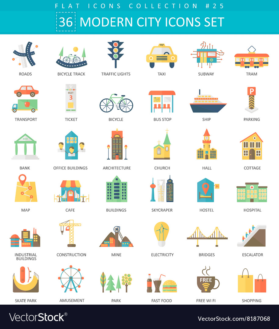 Modern city color flat icon set elegant vector