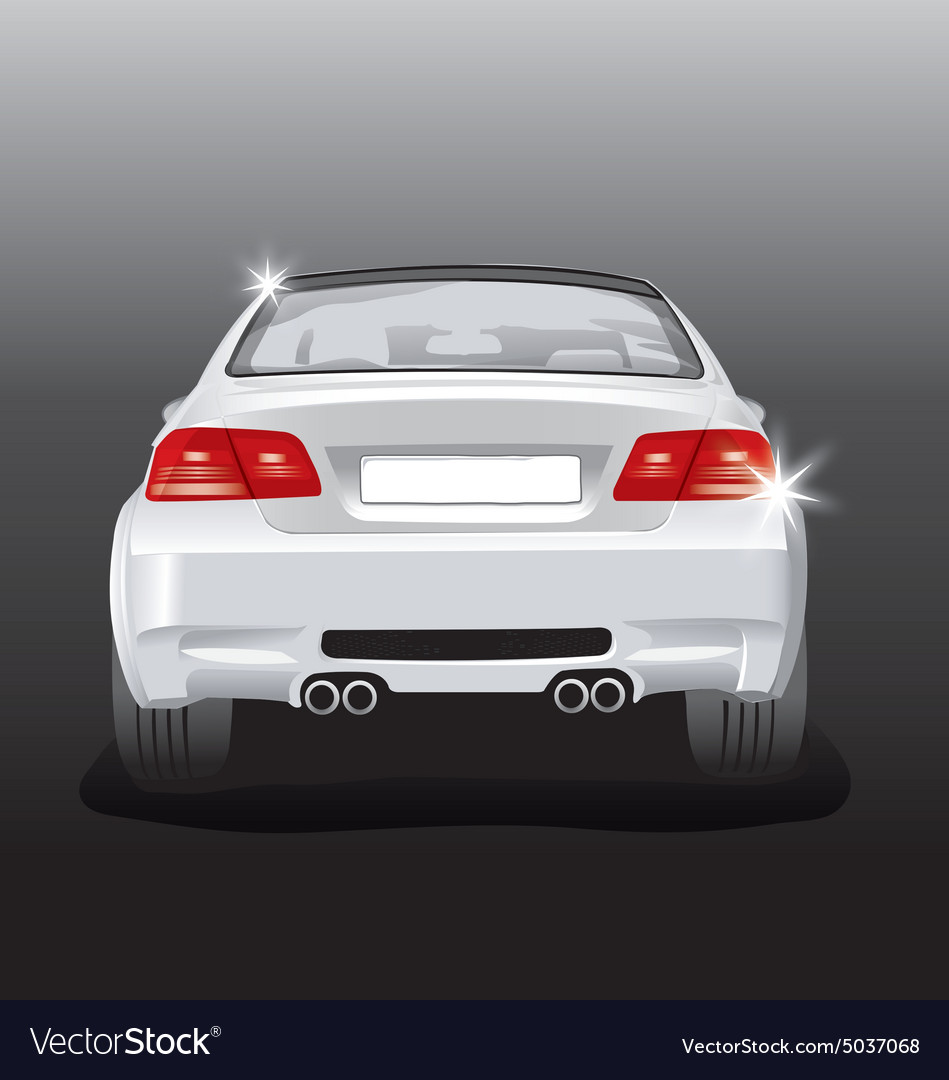 Silver sport car  back view vector