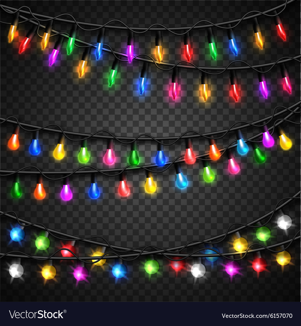 Colorful christmas transparent light bulbs vector
