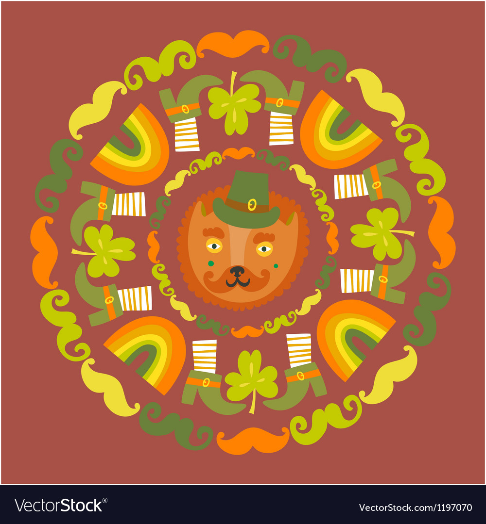 Stpatricks day colorful round with cat vector
