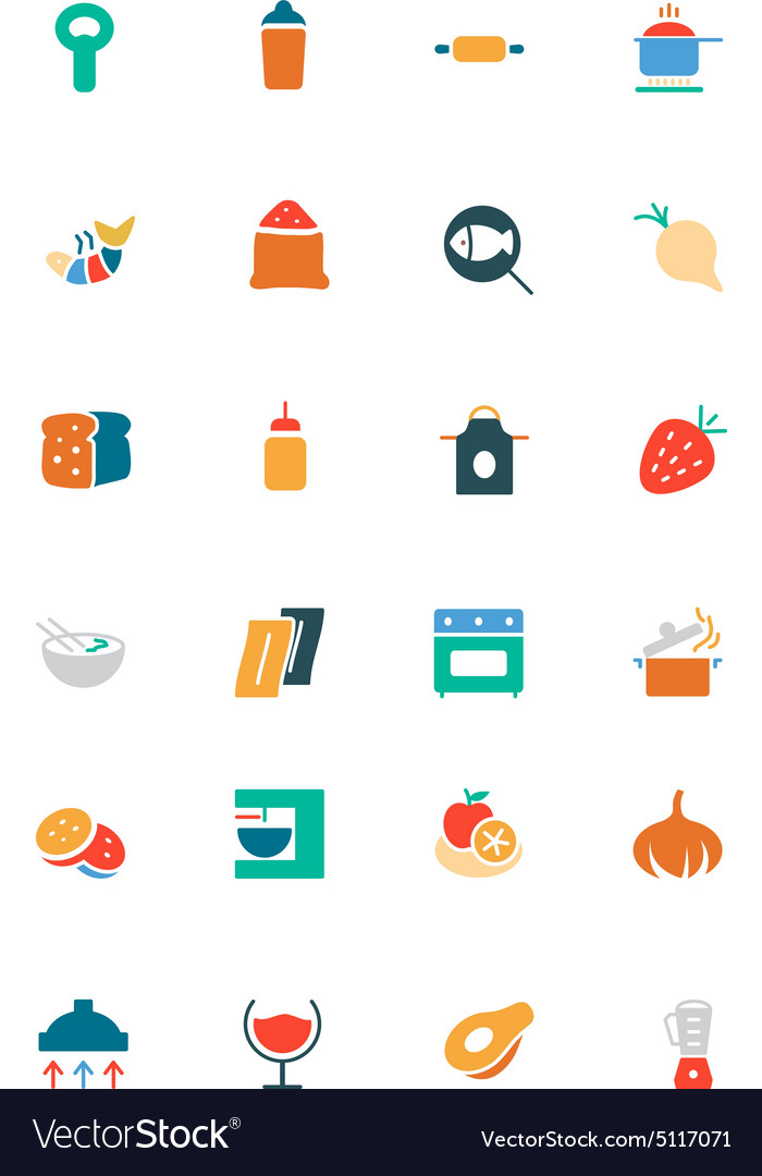 Food and drinks colored icons 8 vector