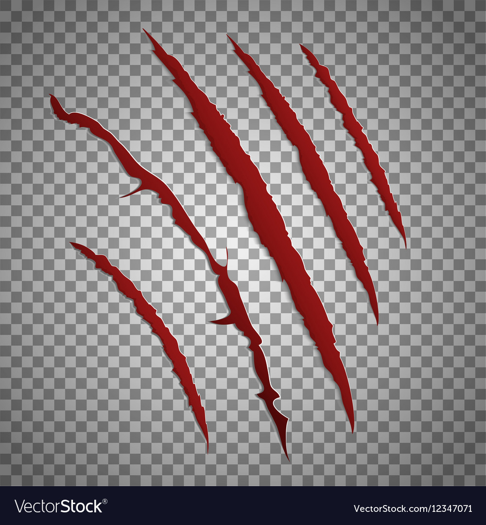 Slash scratch set on transparent background vector
