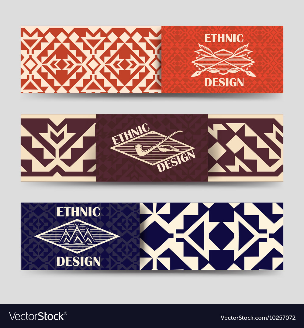 Native american style borders banners vector