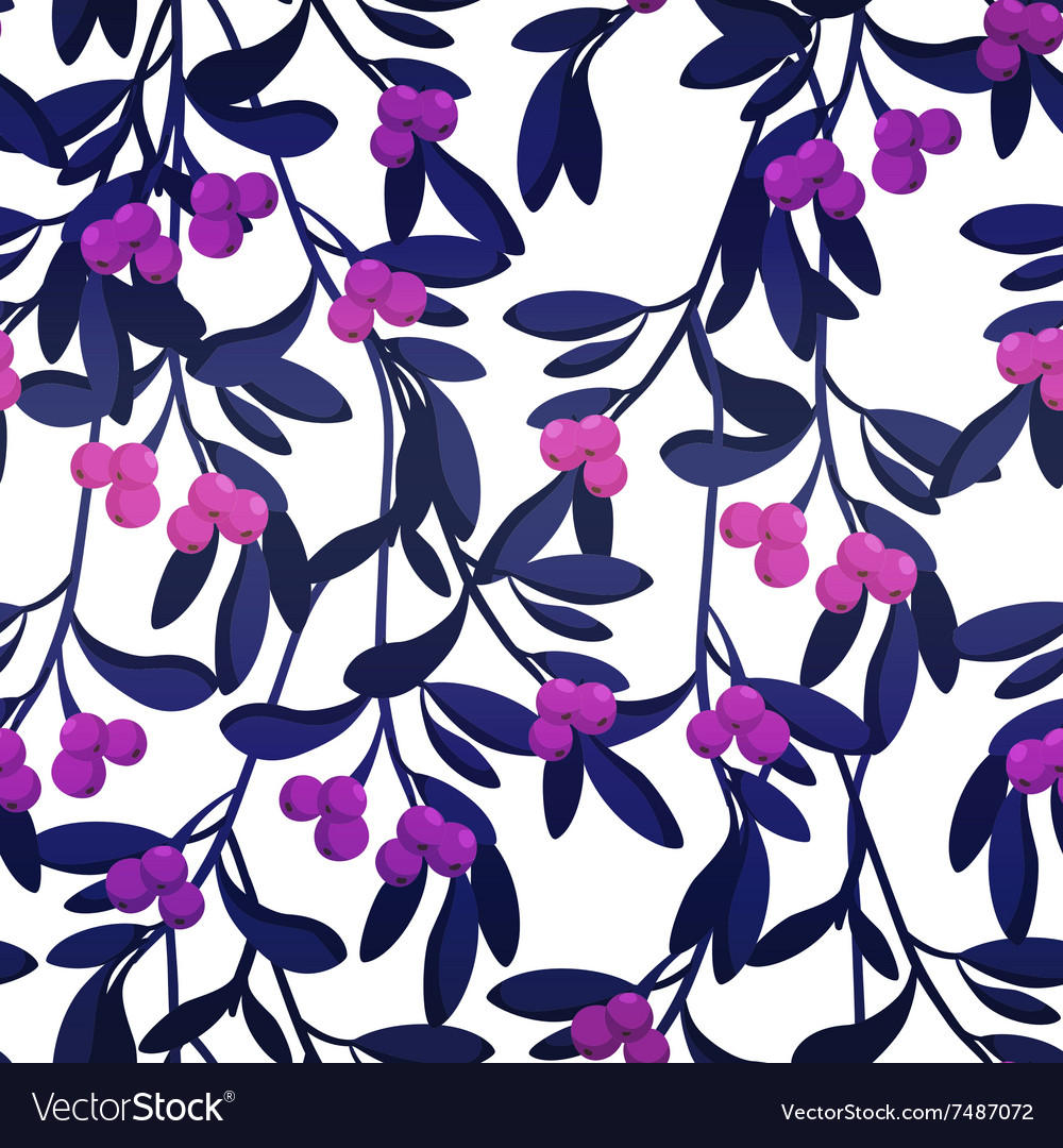 Seamless pattern with berries and leaves vector