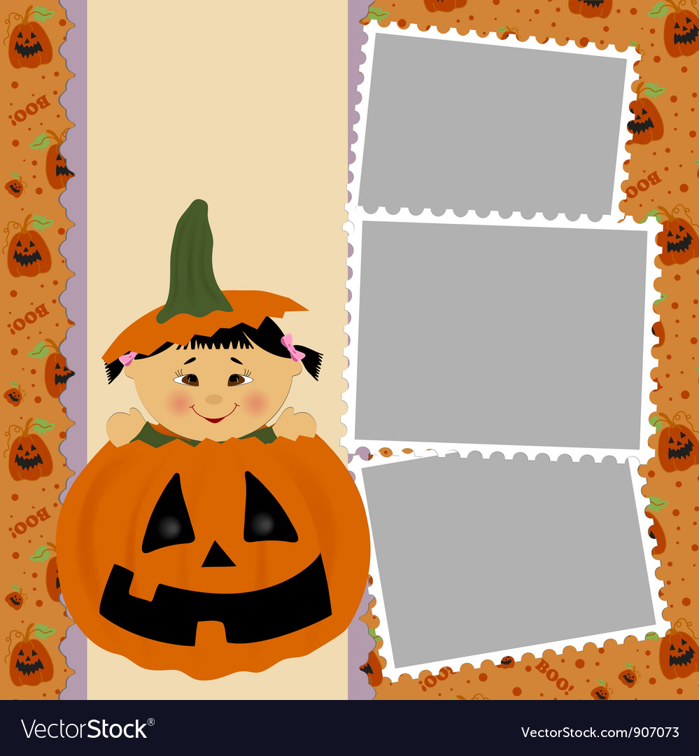 Blank template for halloween photo frame vector