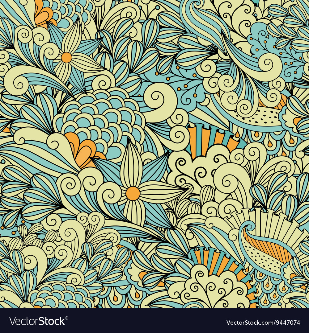 Pretty yellow and blue background made of patterns vector