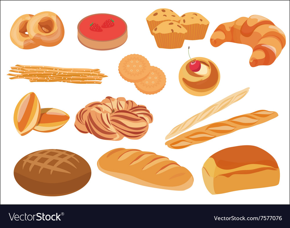 Set of healthy natural bread products and bakery vector