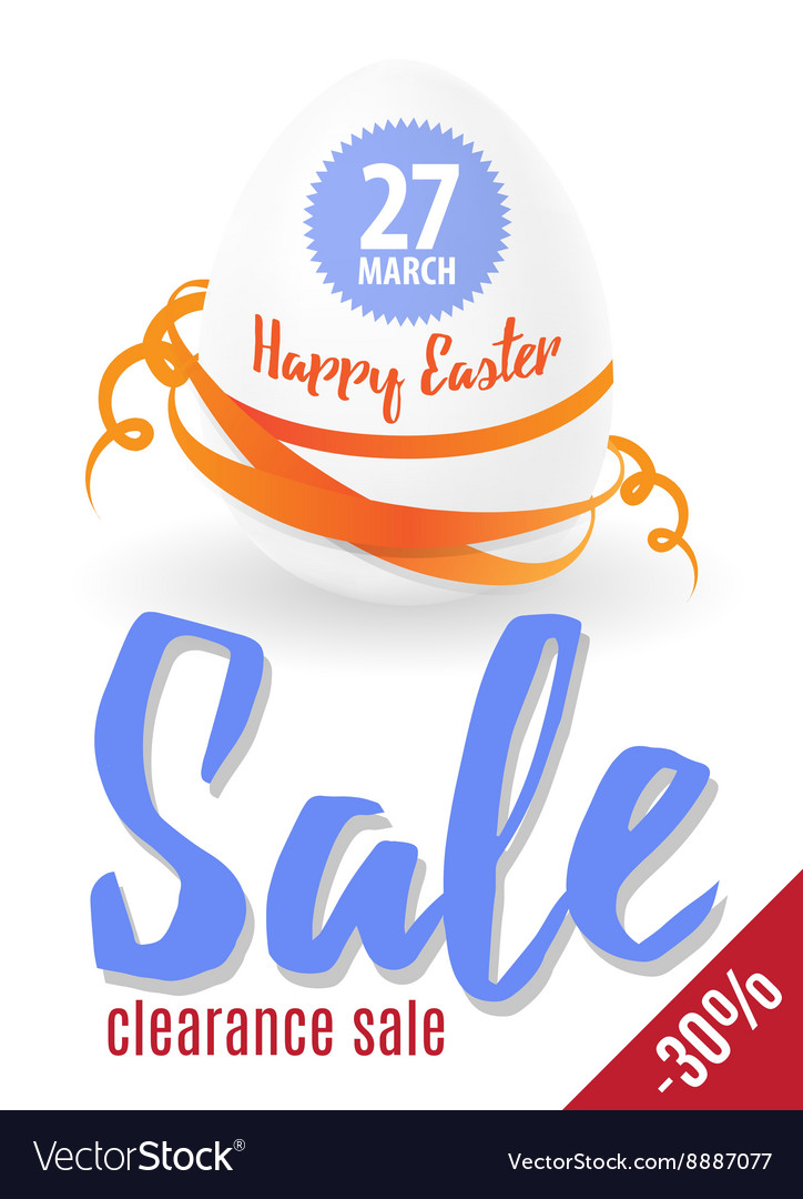 Easter sale egg and text eps 10 vector