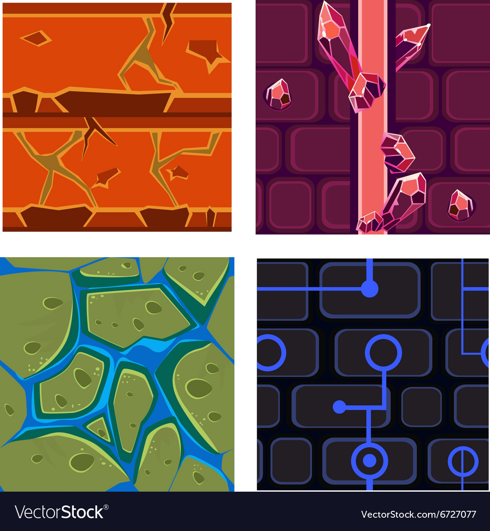 Textures for platformers icons set games vector