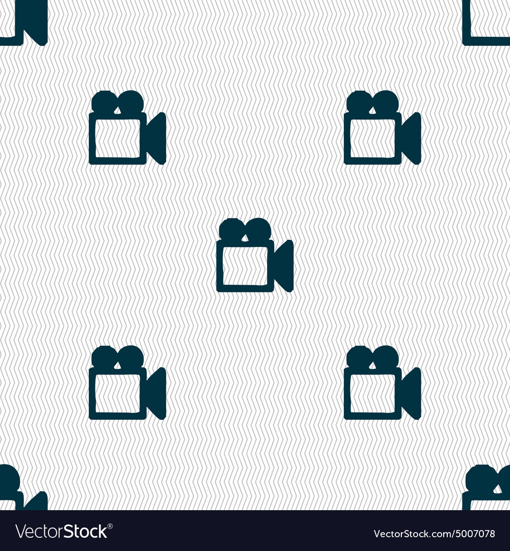 Camcorder icon sign seamless pattern with vector