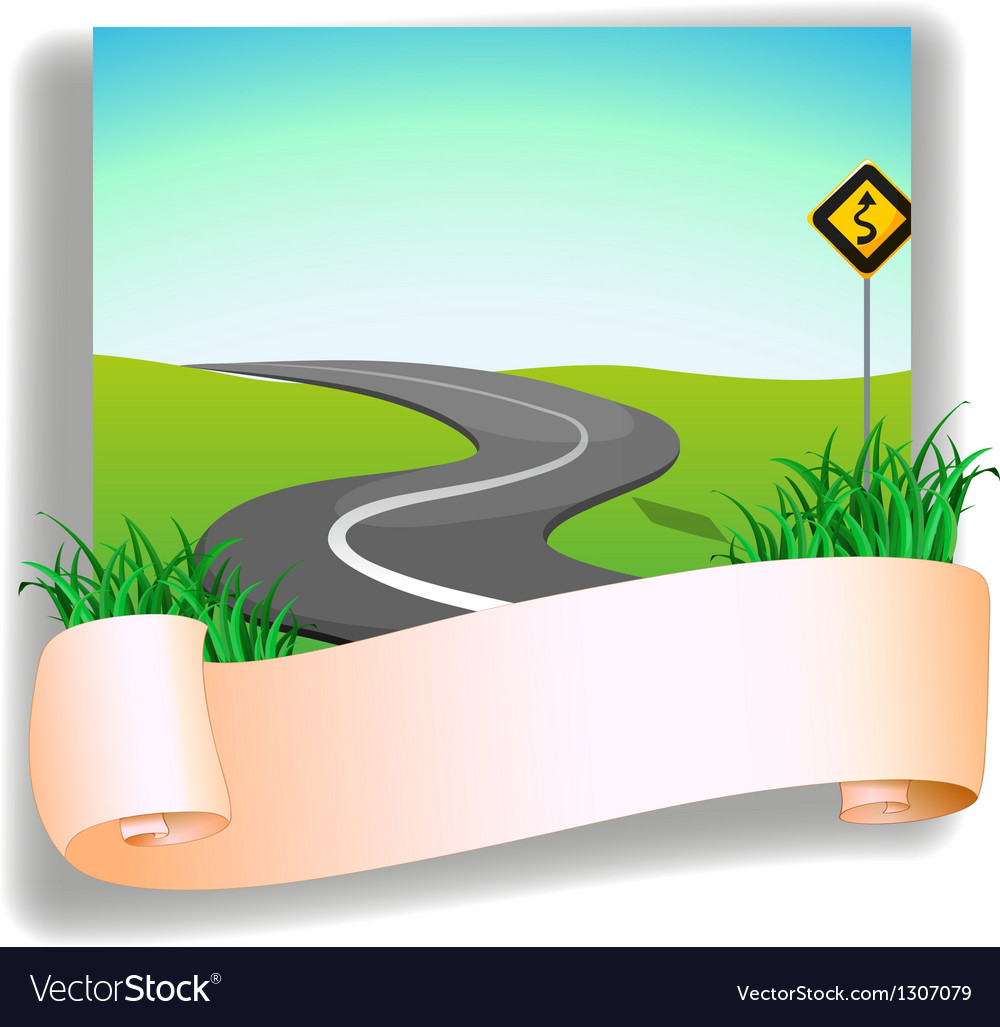 A road with a signage vector