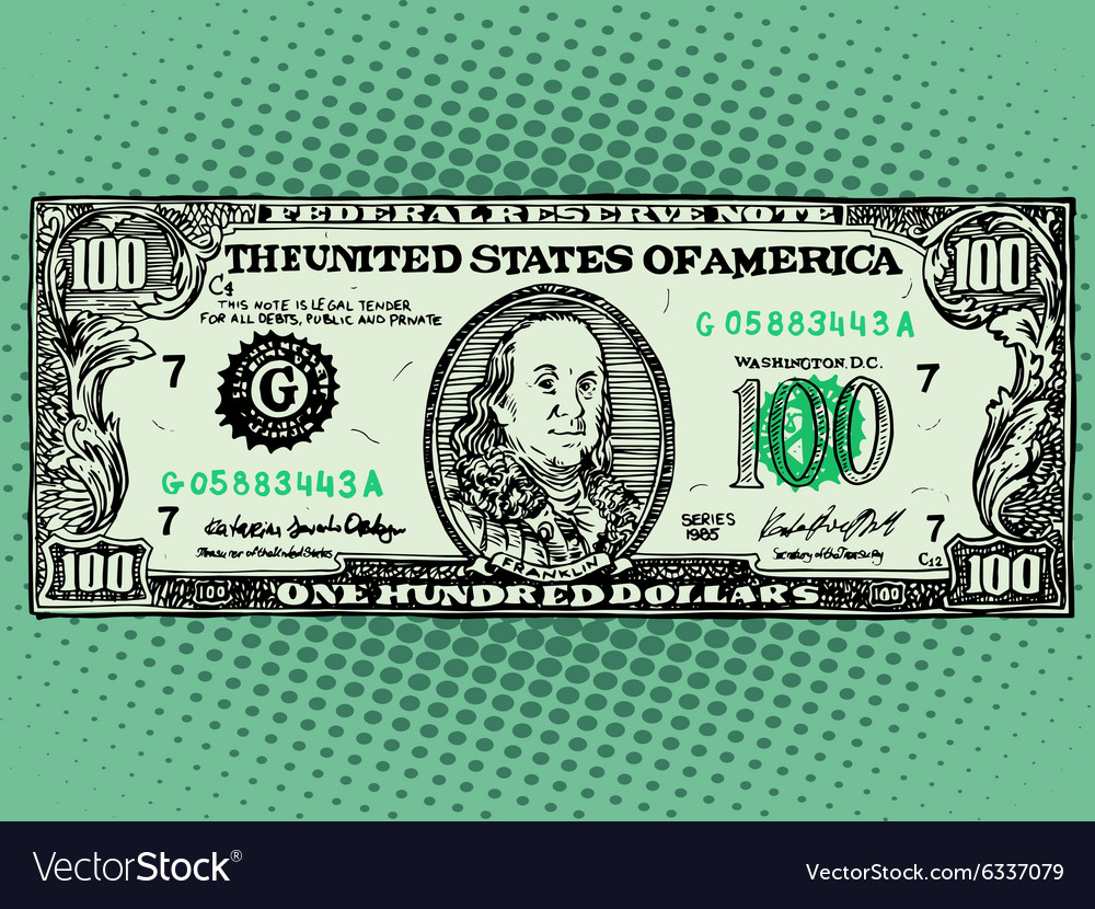 Banknote hundred dollars benjamin franklin vector