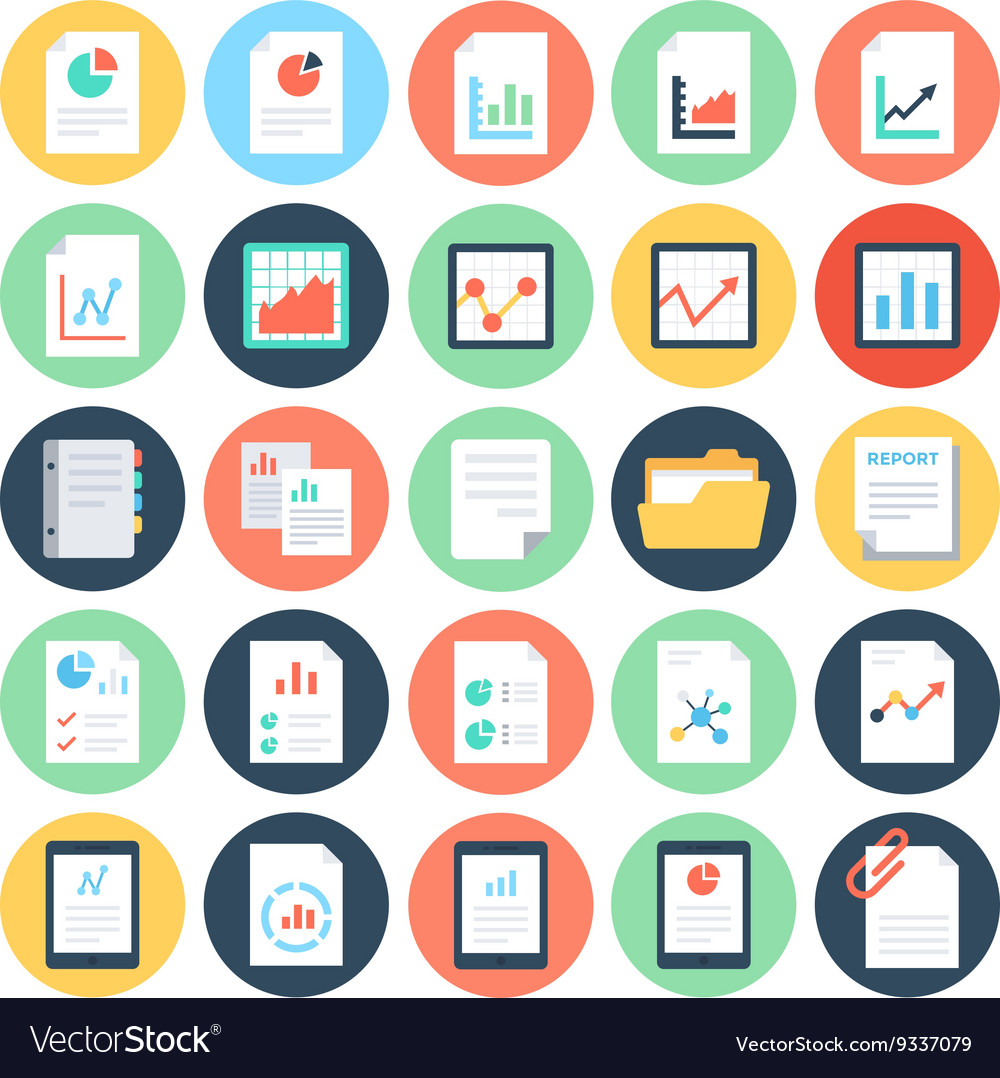 Reports and analytics colored icons 2 vector