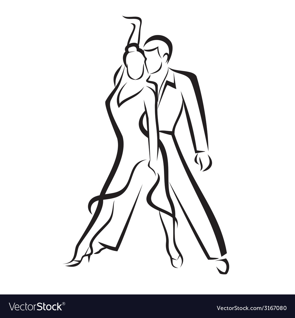 Dancing couple outlined sketch vector