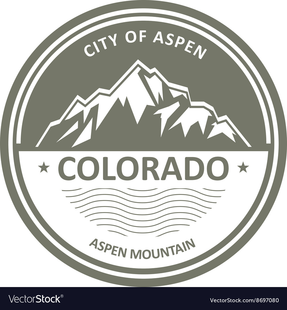 Snowbound rocky mountains  colorado aspen label vector