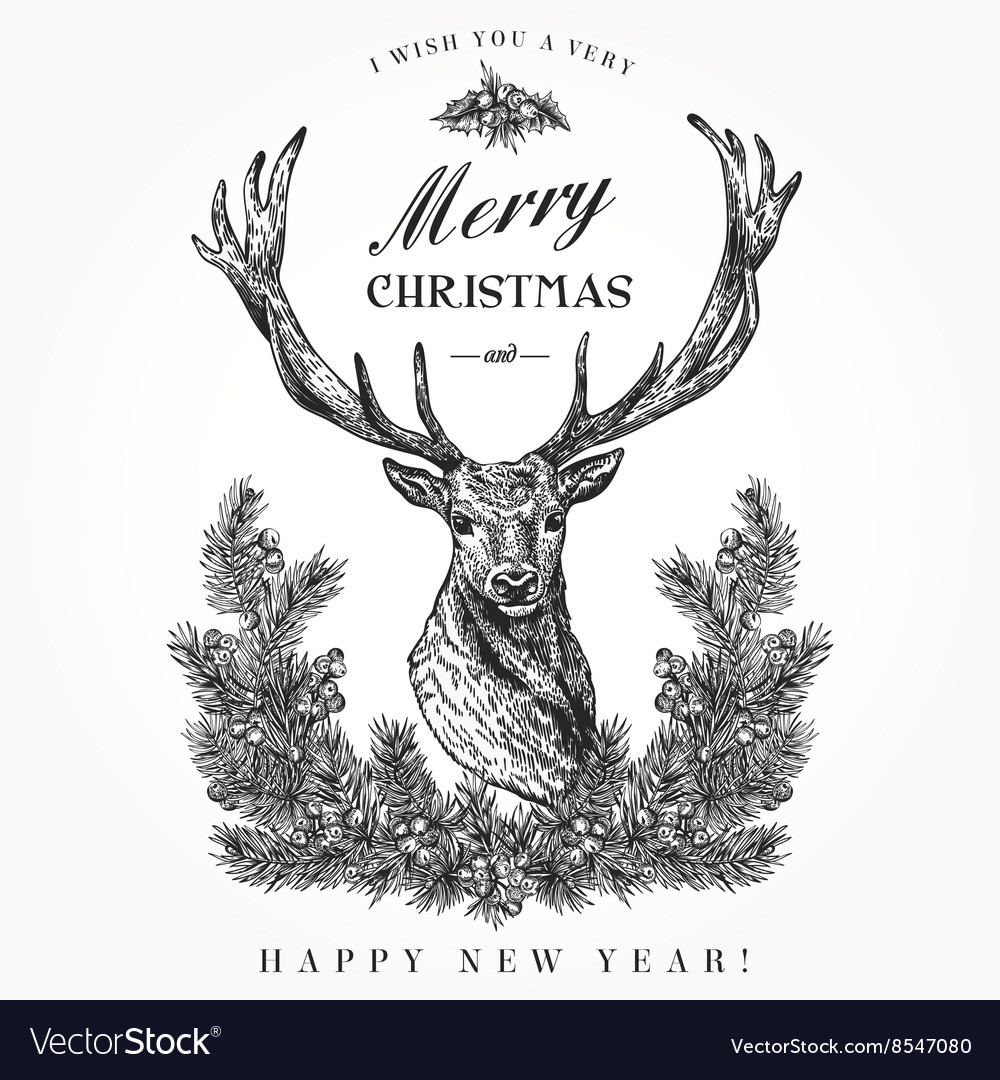 Vintage christmas card deer vector